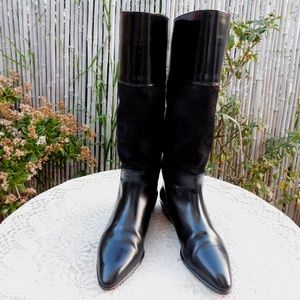 BALLY Black Leather Suede Riding Boots sz 37.5